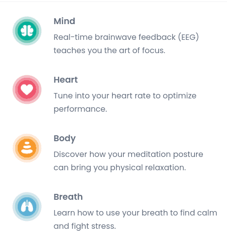 breakdown of how muse meditation headbands tune into your mind, heart, body, and breathing to promote happy brain chemicals.