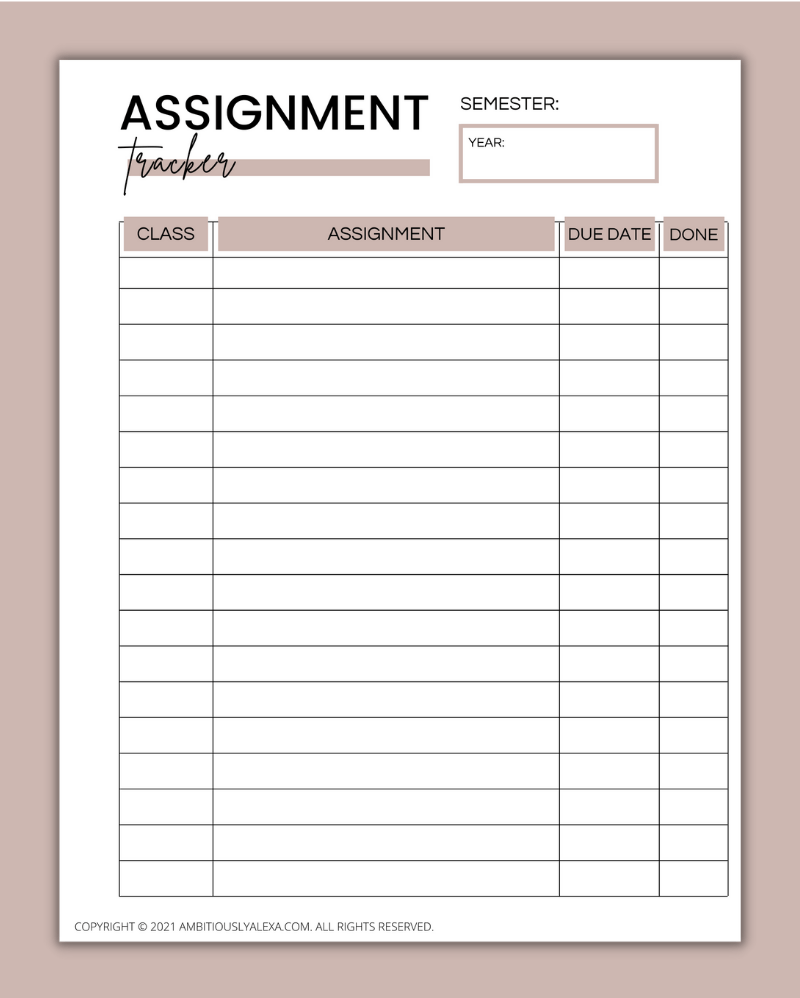 assignment tracker printable