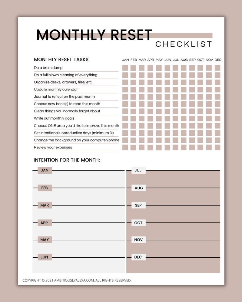 monthly routine chart