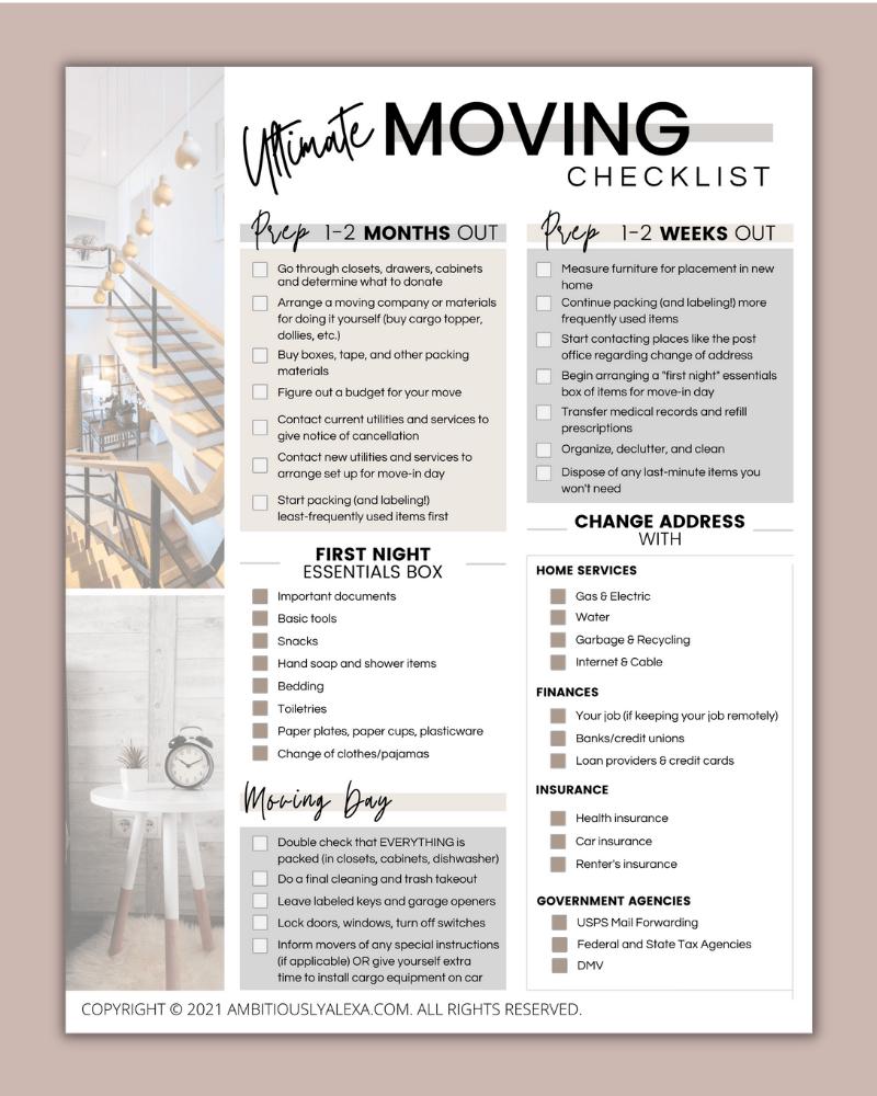 moving checklists printable