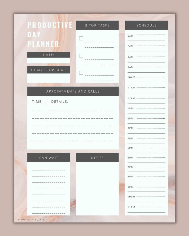 productivity planner printable
